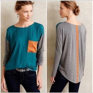 Anthropologie Teal and Grey Long sleeve too Small